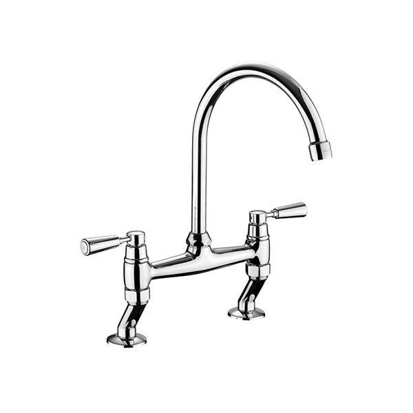 Rangemaster Traditional Belfast Bridge Brushed Stainless Steel Tap